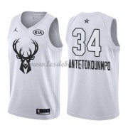 Maillot NBA Pas Cher Milwaukee Bucks Giannis Antetokounmpo 34# White 2018 All Star Game Swingman..